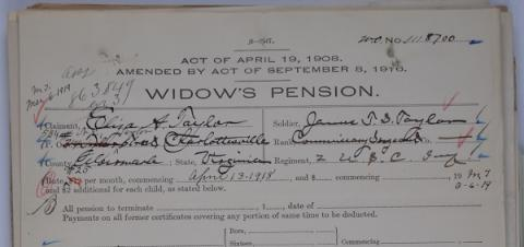 James T. S. Taylor's Widow's Pension