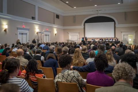 Plenary session on first day of UVA Slavery Symposium.