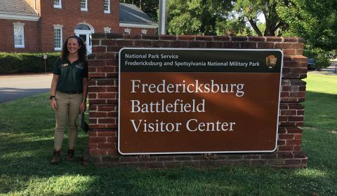 Jane Winthrop at Fredericksburg National Battlefield Park.